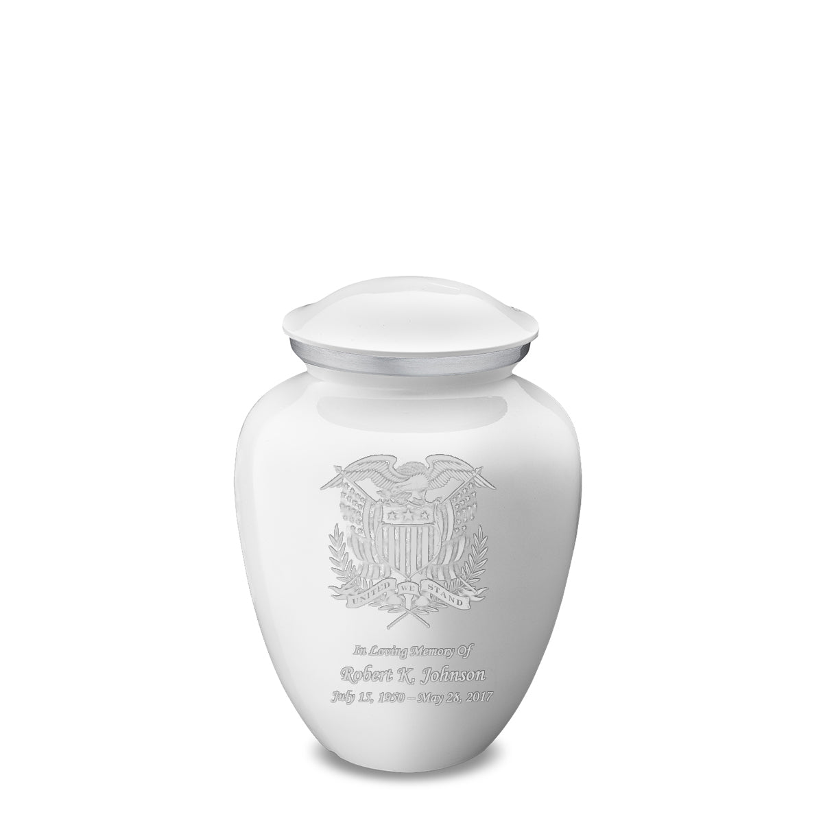 Medium Embrace White American Glory Cremation Urn