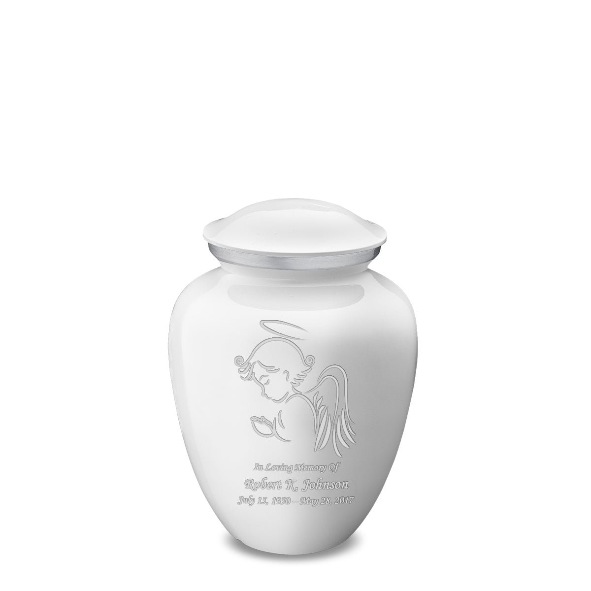 Medium White Embrace Angel Cremation Urn