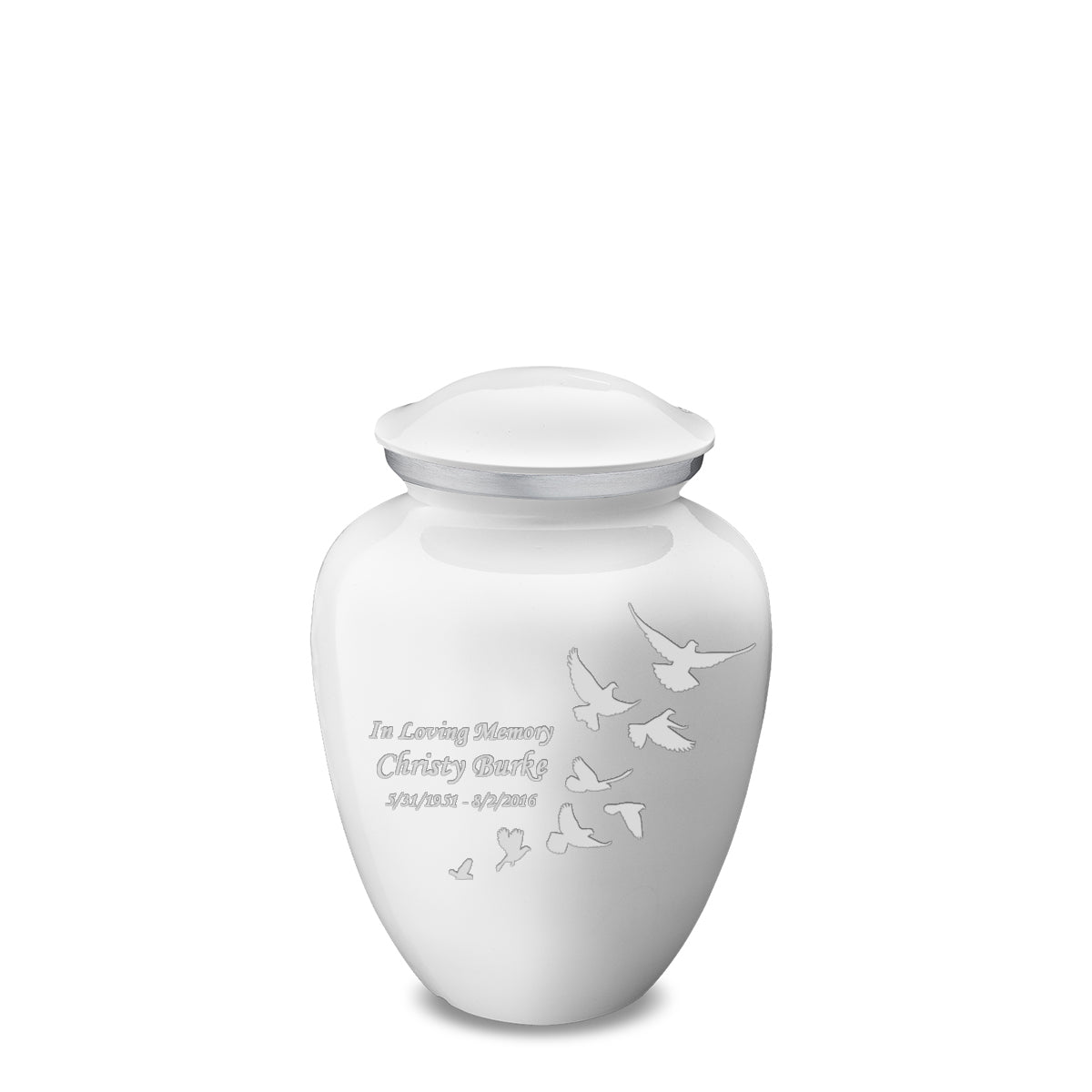 Medium White Embrace Doves Cremation Urn