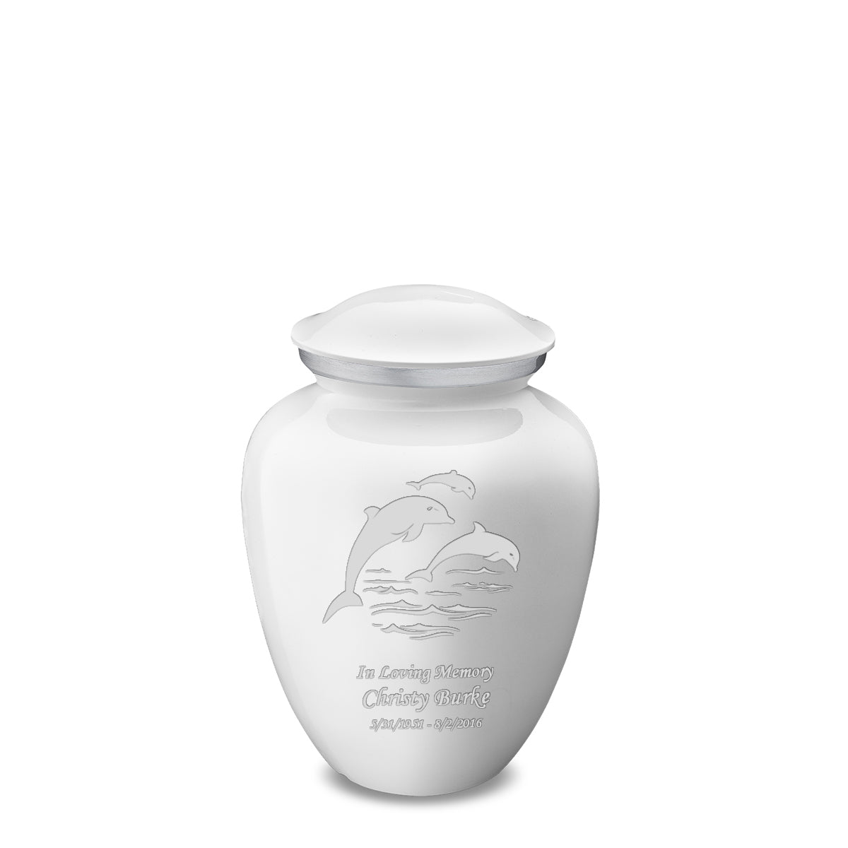 Medium White Embrace Dolphins Cremation Urn