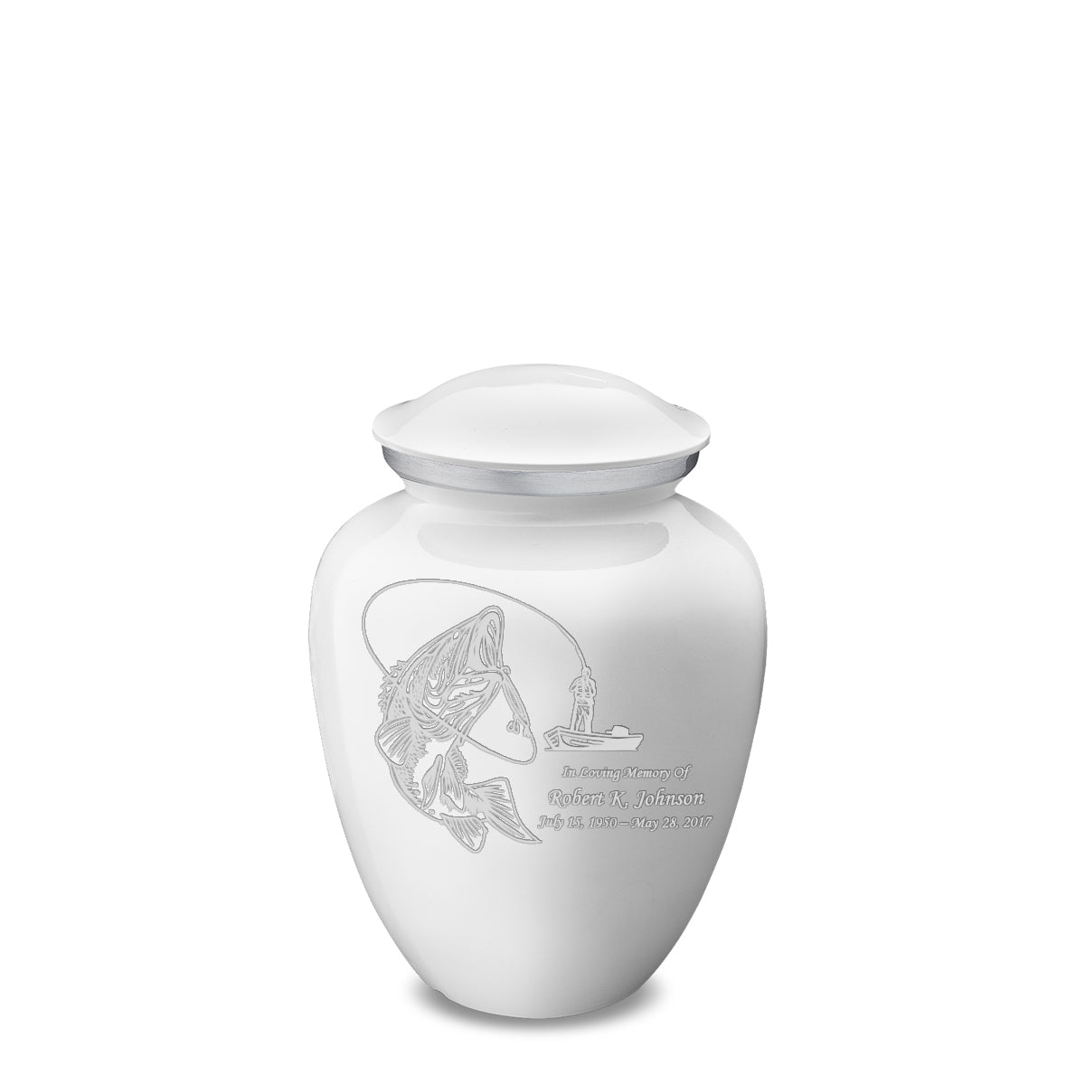 Medium White Embrace Fishing Cremation Urn