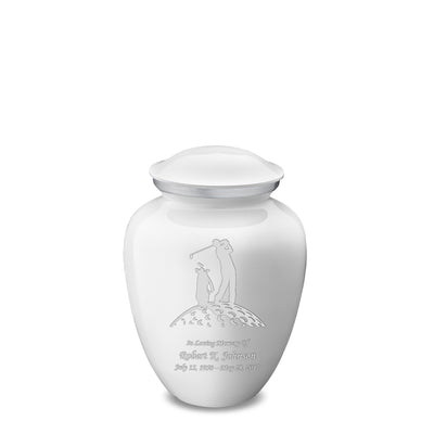 Medium White Embrace Golfer Cremation Urn