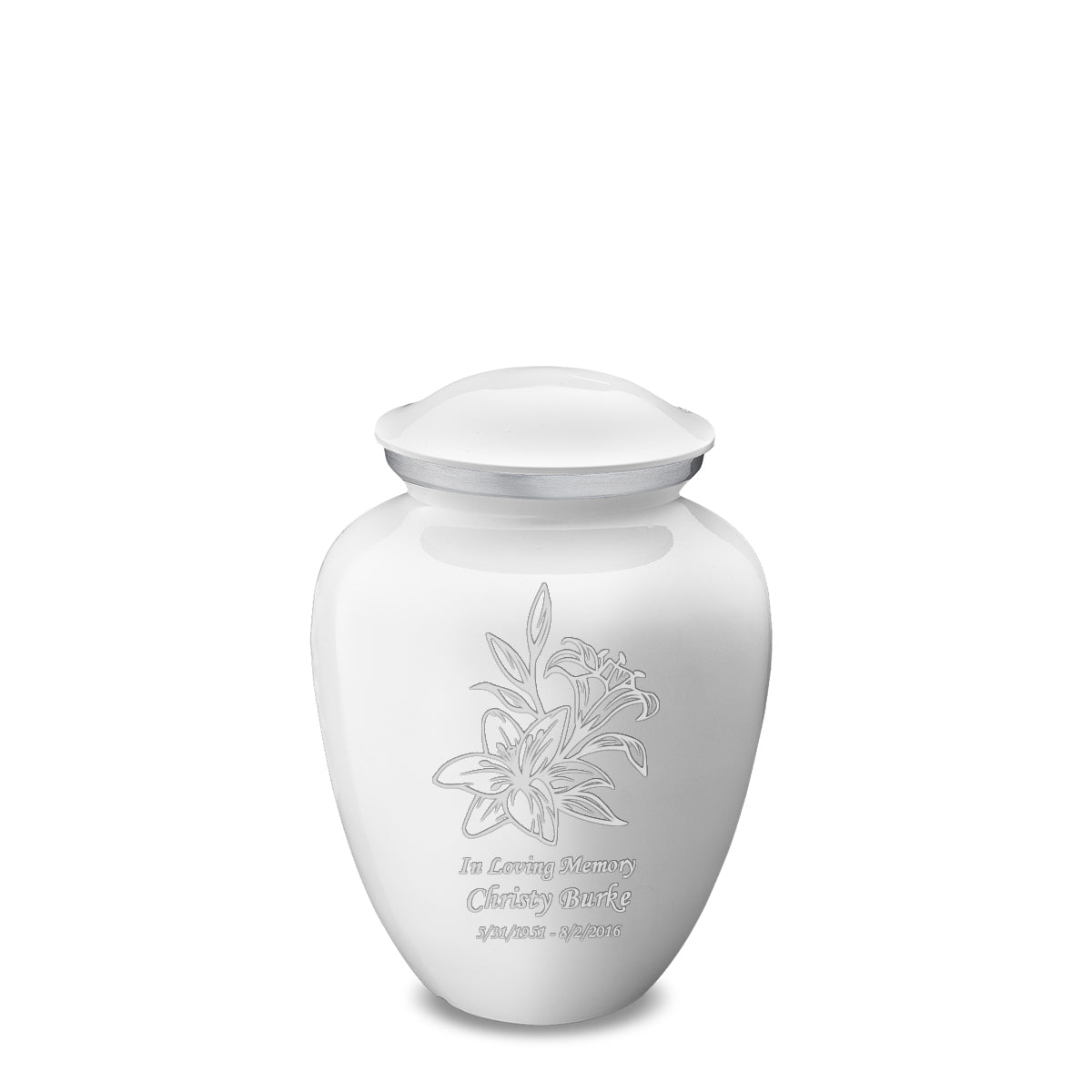 Medium Embrace White Lily Cremation Urn