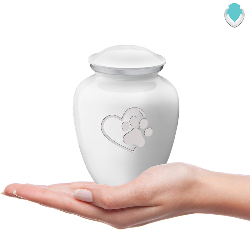Medium Embrace White Single Heart Paw Pet Cremation Urn