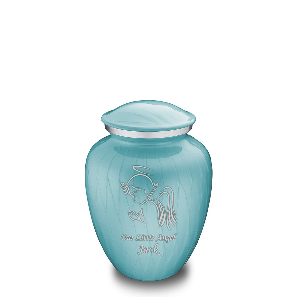 Medium Embrace Pearlescent Blue Angel Cremation Urn