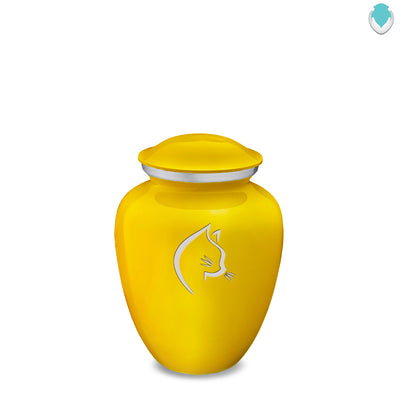 Medium Embrace Yellow Cat Pet Cremation Urn