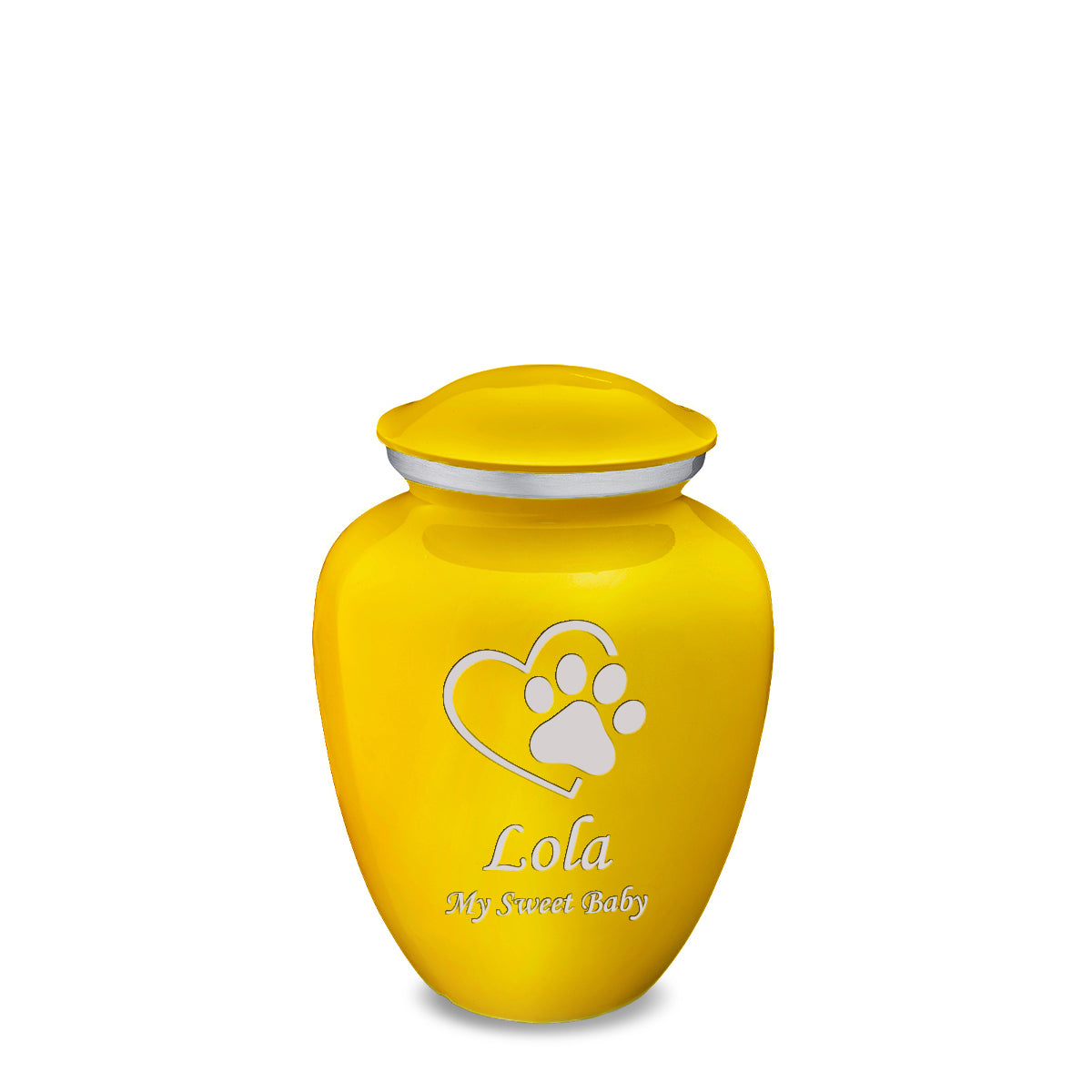 Medium Embrace Yellow Single Heart Paw Pet Cremation Urn