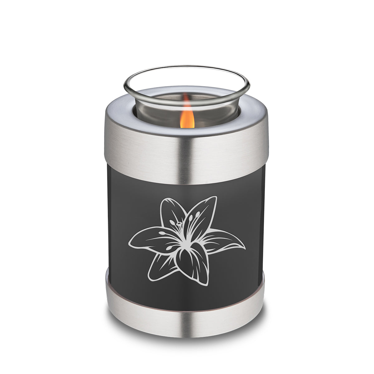 Candle Holder Embrace Charcoal Lily Cremation Urn