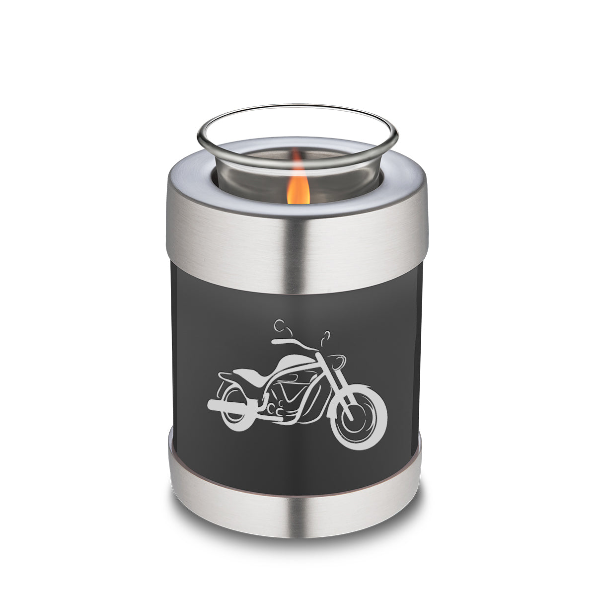 Candle Holder Embrace Charcoal Motorcycle Cremation Urn