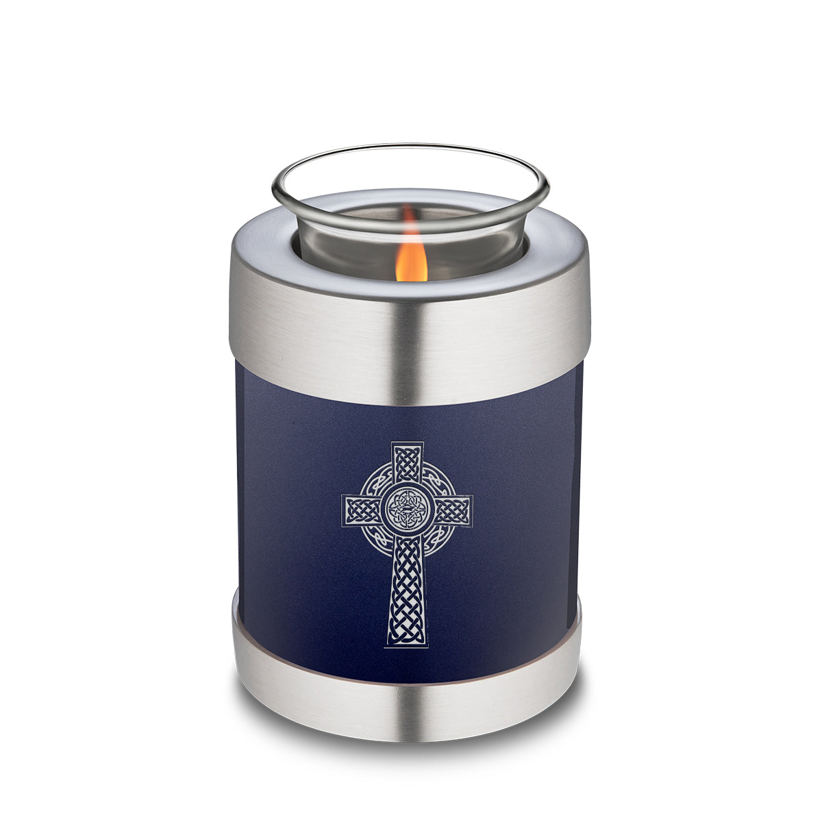 Candle Holder Embrace Cobalt Blue Celtic Cross Cremation Urn