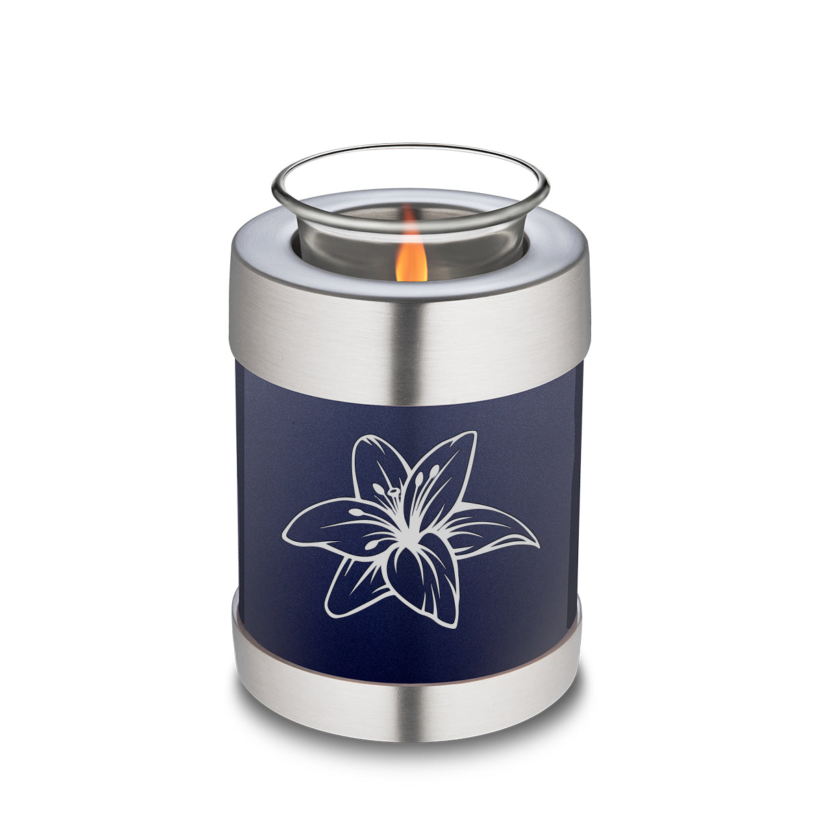 Candle Holder Embrace Cobalt Blue Lily Cremation Urn