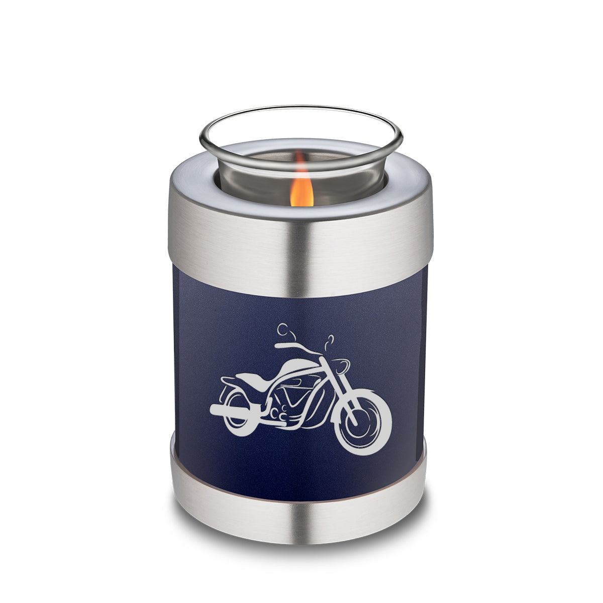 Candle Holder Embrace Cobalt Blue Motorcycle Cremation Urn