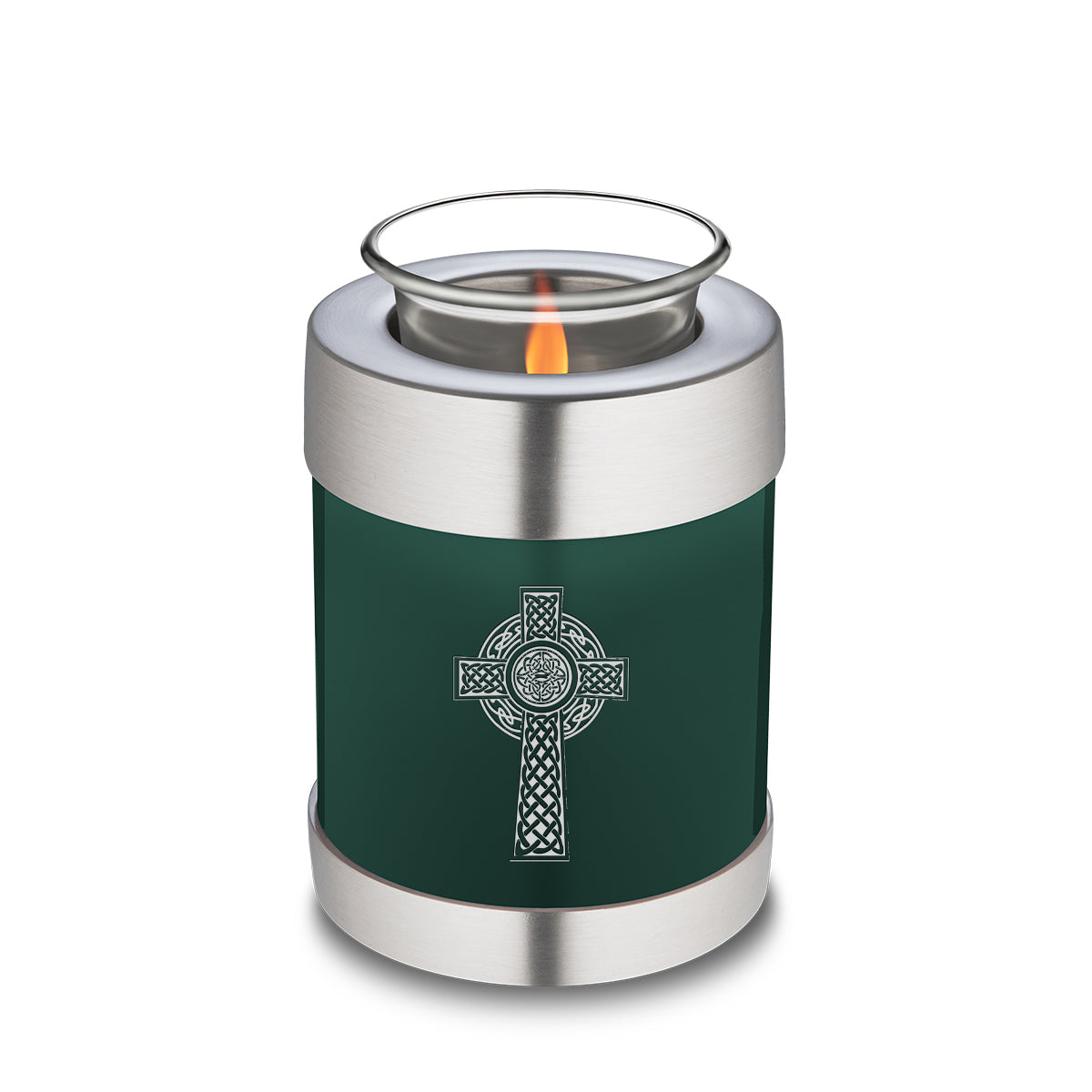 Candle Holder Embrace Green Celtic Cross Cremation Urn