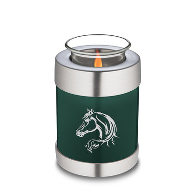 Candle Holder Embrace Green Horse Cremation Urn