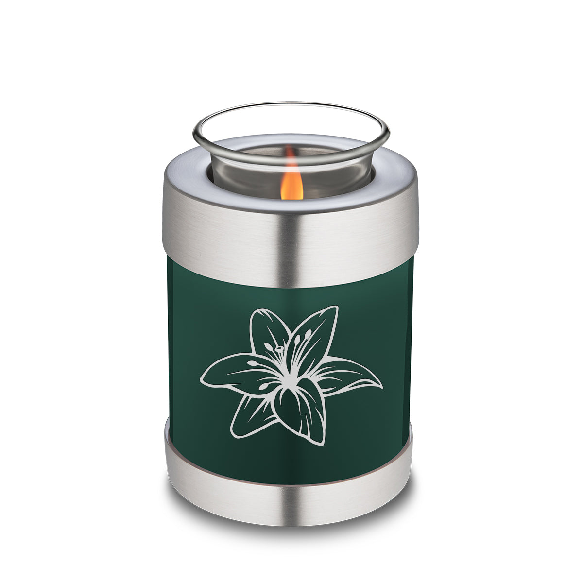 Candle Holder Embrace Green Lily Cremation Urn