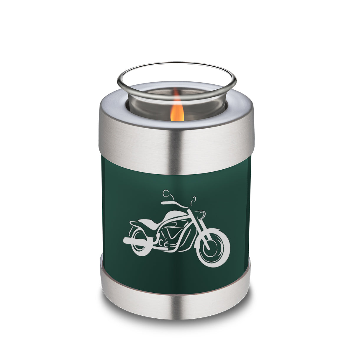 Candle Holder Embrace Green Motorcycle Cremation Urn