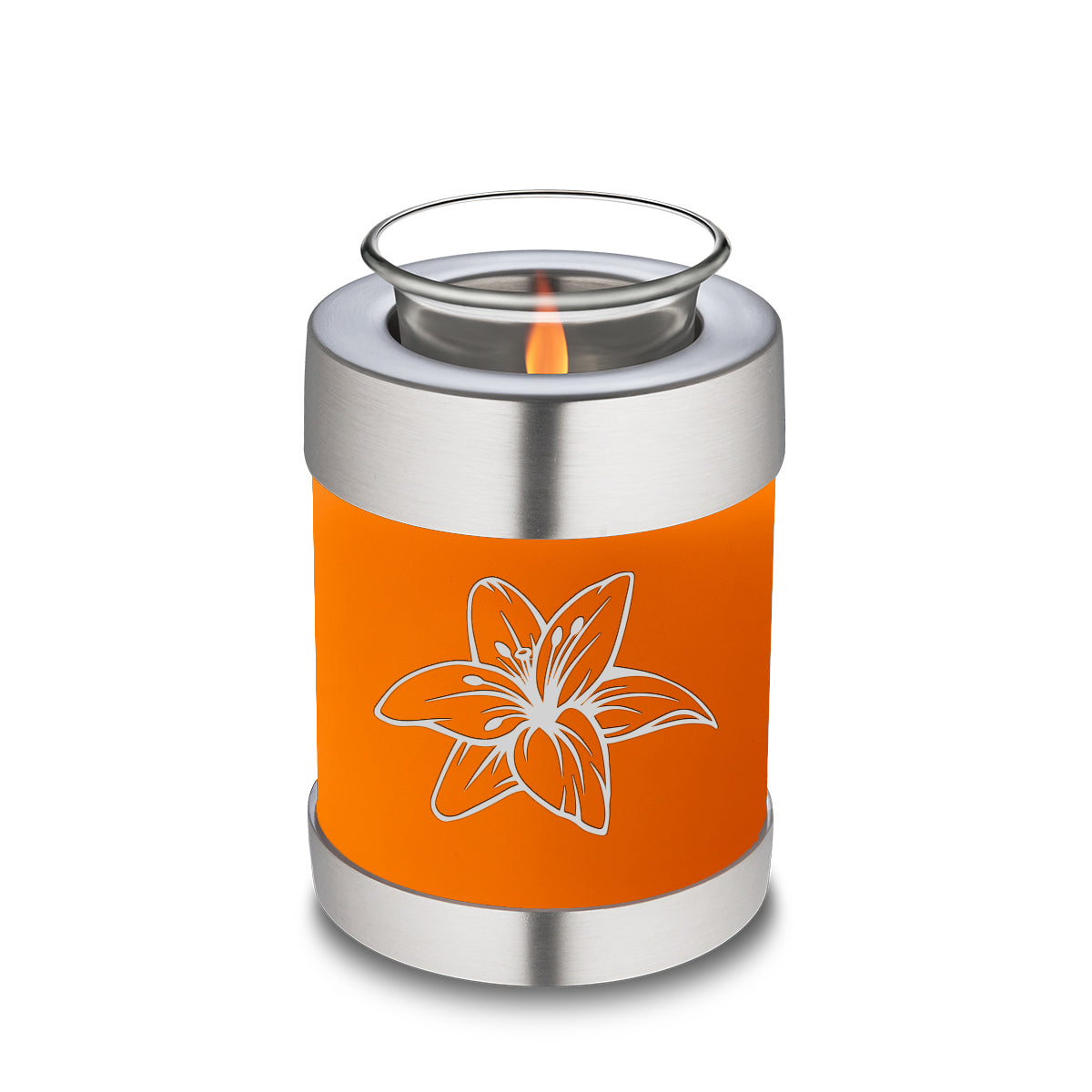 Candle Holder Embrace Burnt Orange Lily Cremation Urn