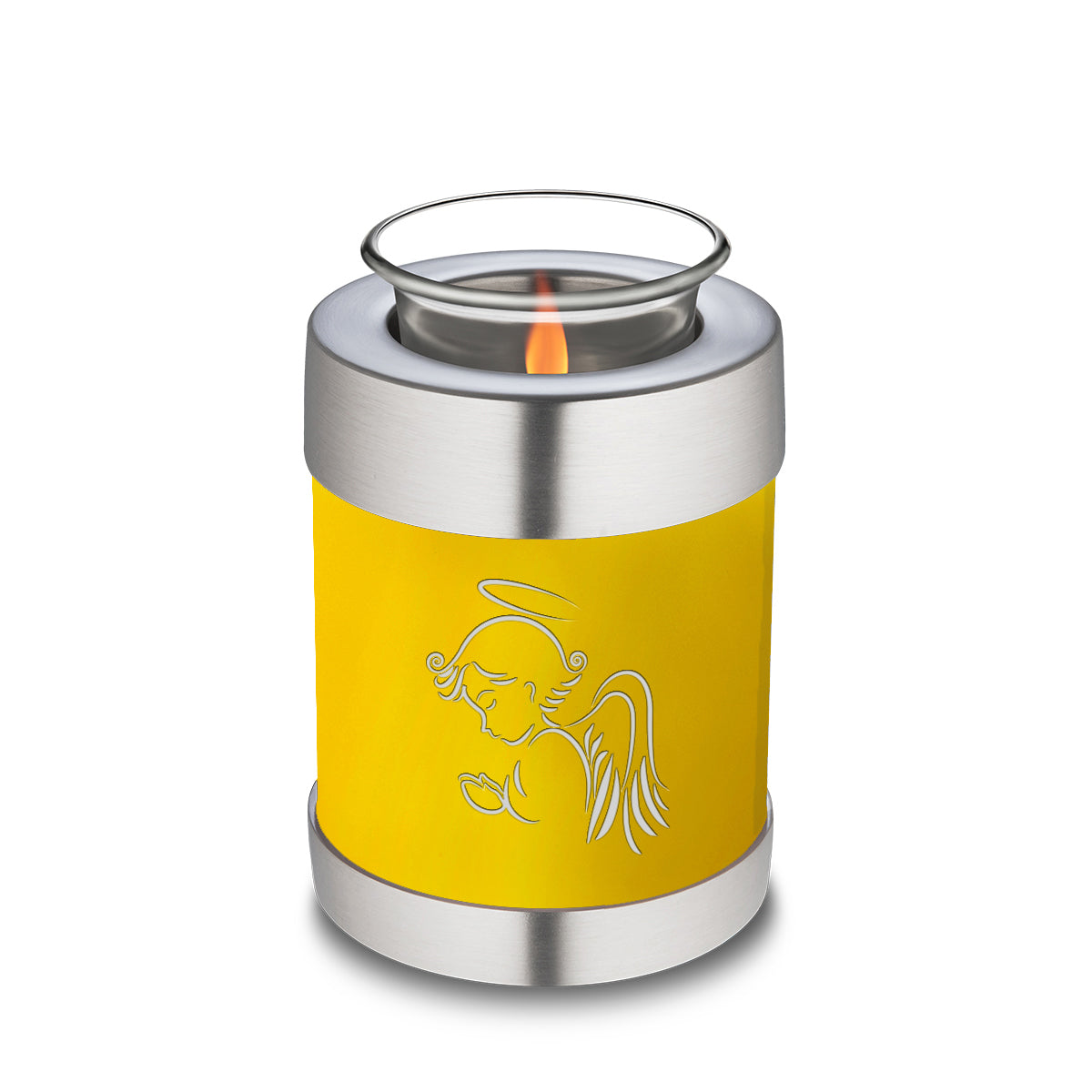 Candle Holder Embrace Yellow Angel Cremation Urn
