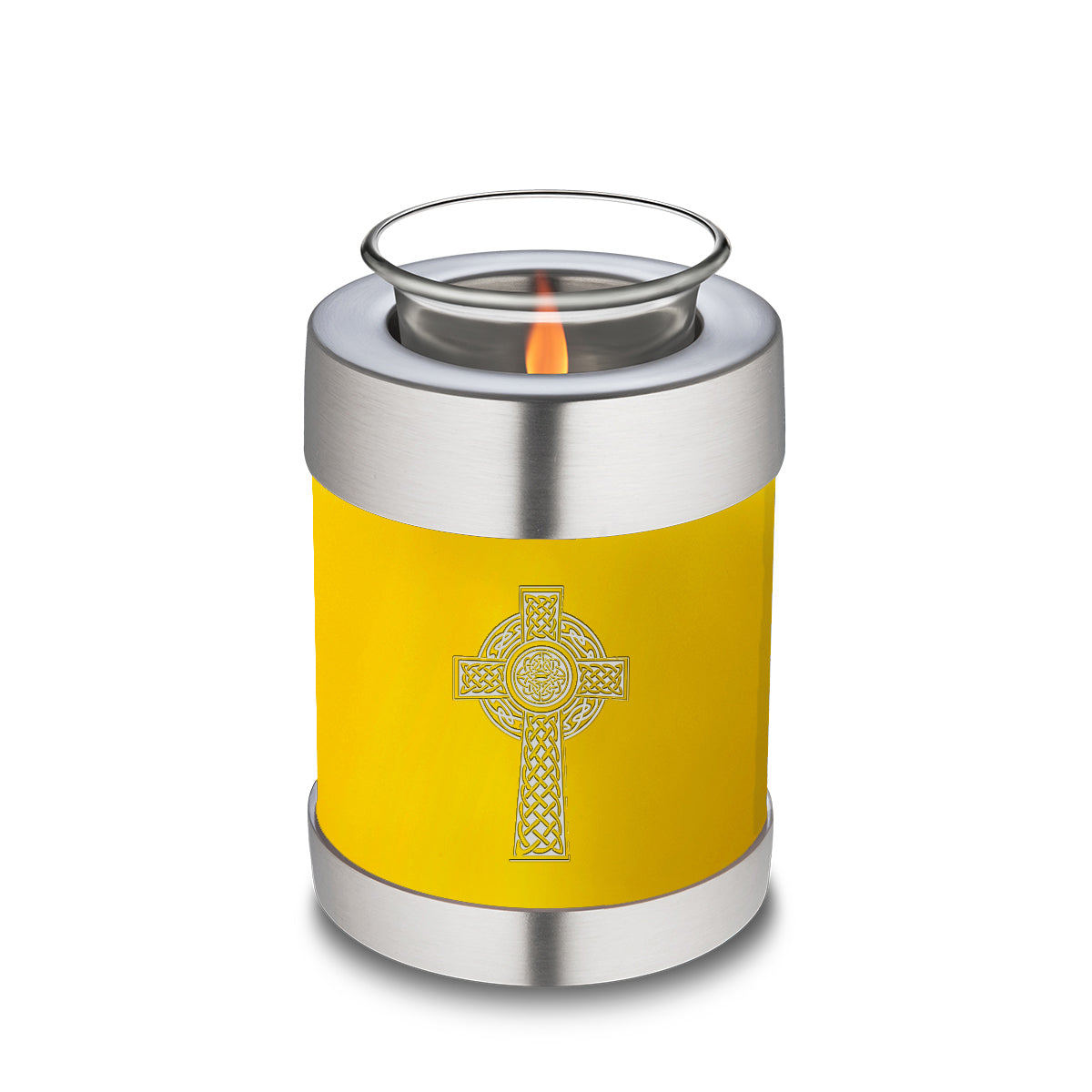 Candle Holder Embrace Yellow Celtic Cross Cremation Urn