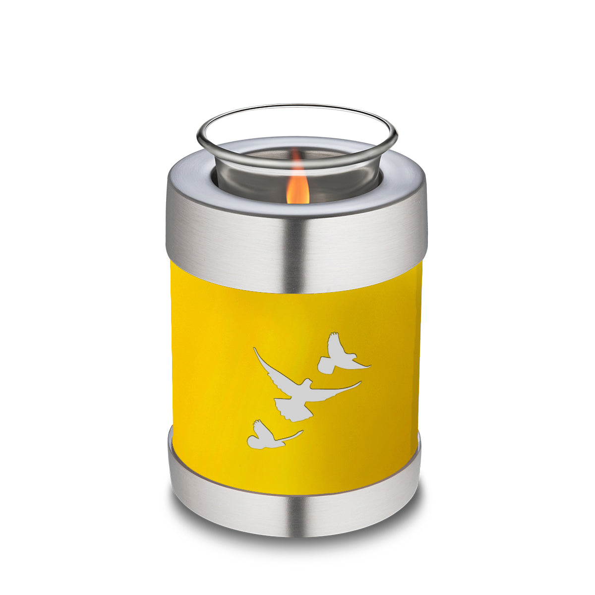 Candle Holder Embrace Yellow Doves Cremation Urn