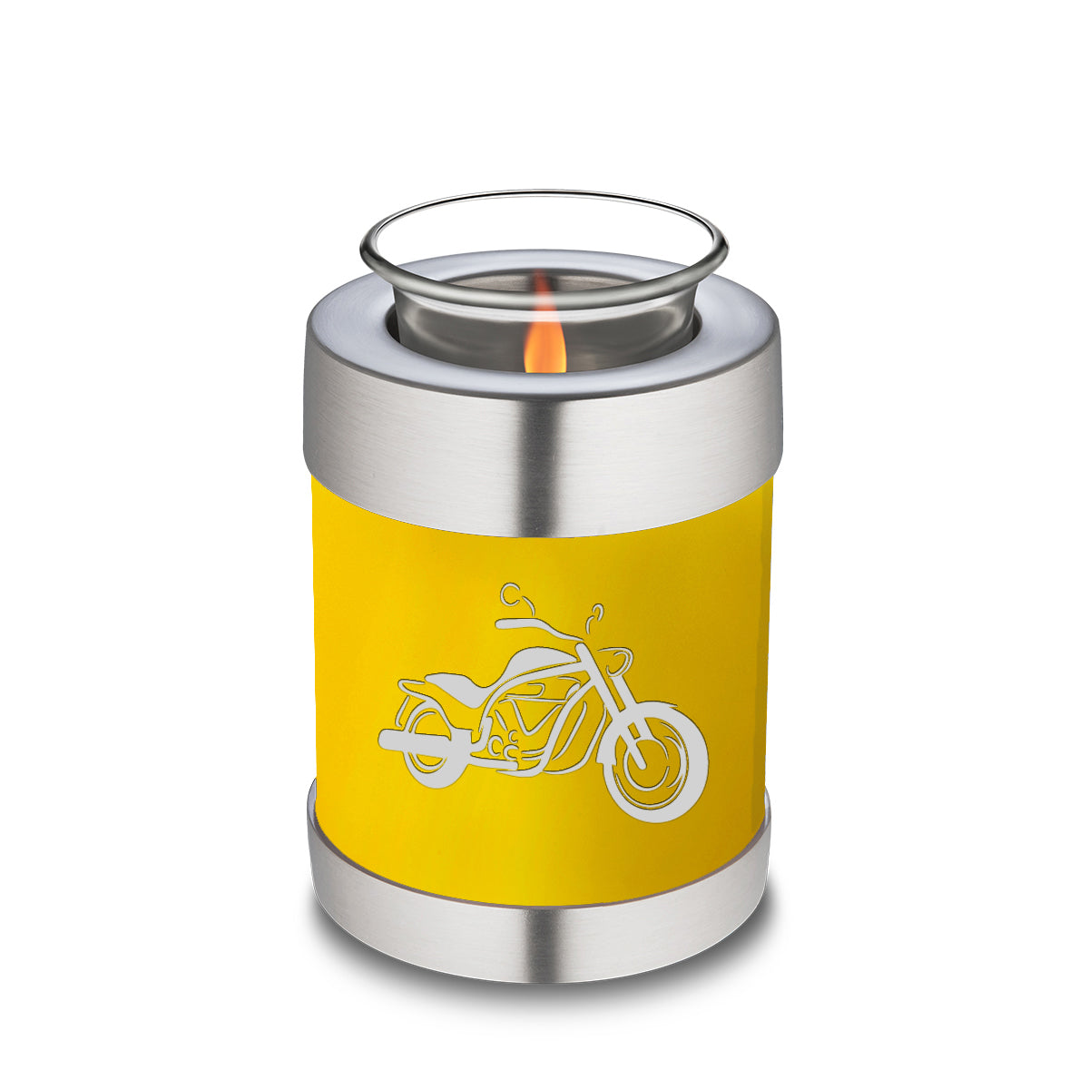 Candle Holder Embrace Yellow Motorcycle Cremation Urn