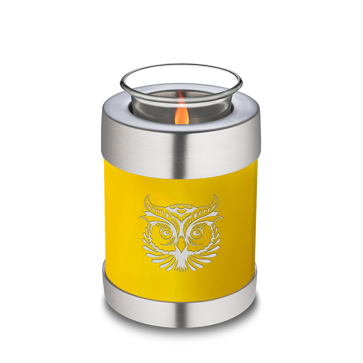 Candle Holder Embrace Yellow Owl Cremation Urn