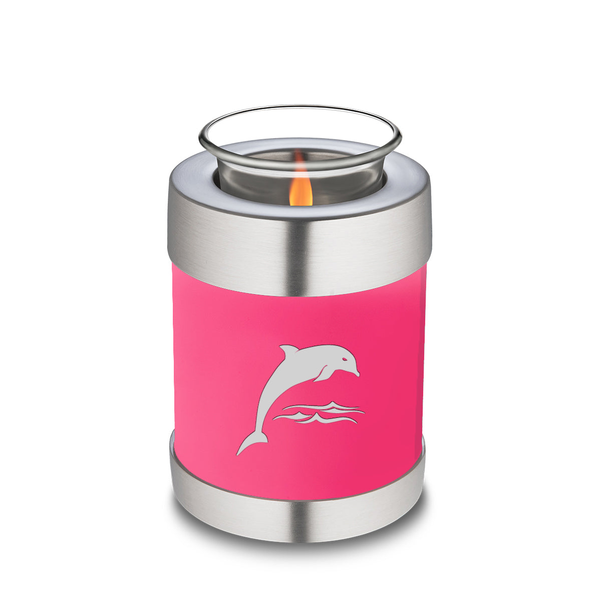 Candle Holder Embrace Bright Pink Dolphins Cremation Urn