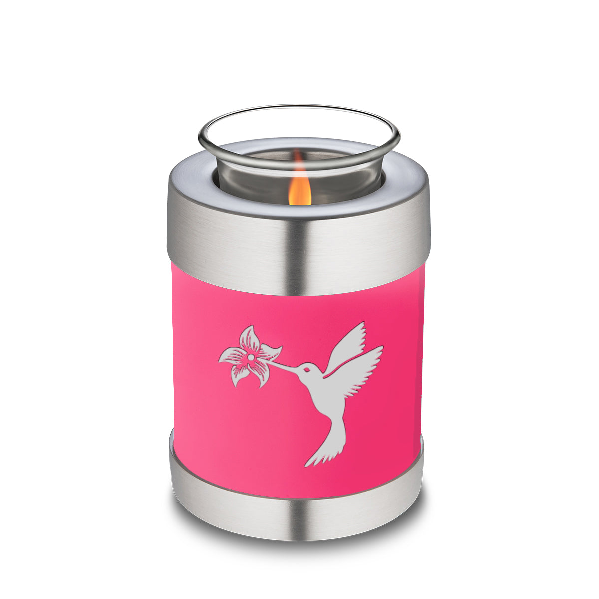 Candle Holder Embrace Bright Pink Hummingbird Cremation Urn