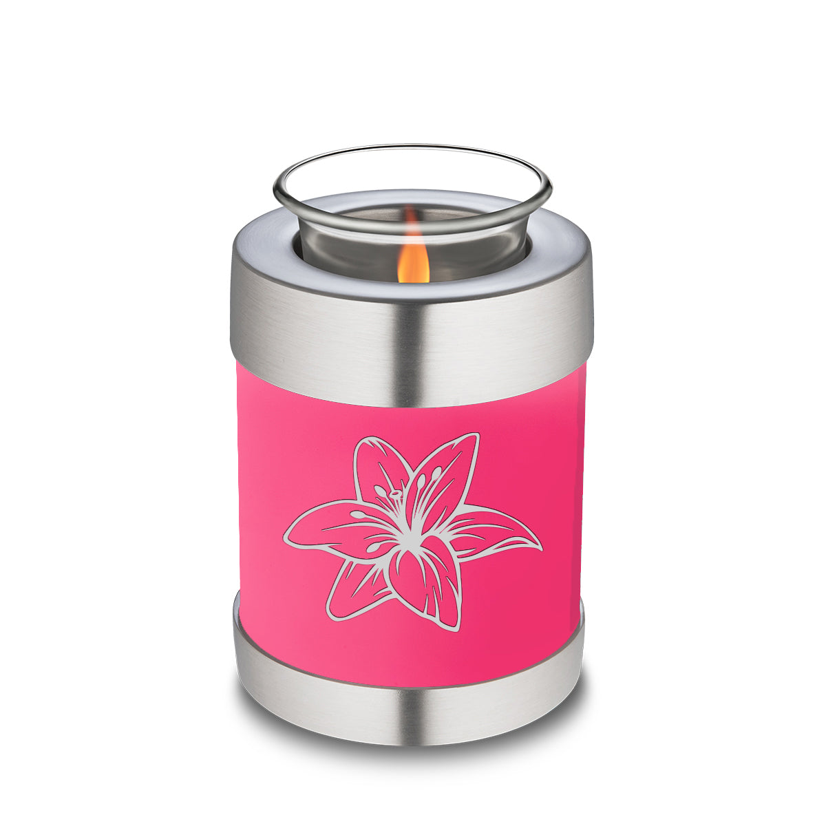 Candle Holder Embrace Bright Pink Lily Cremation Urn