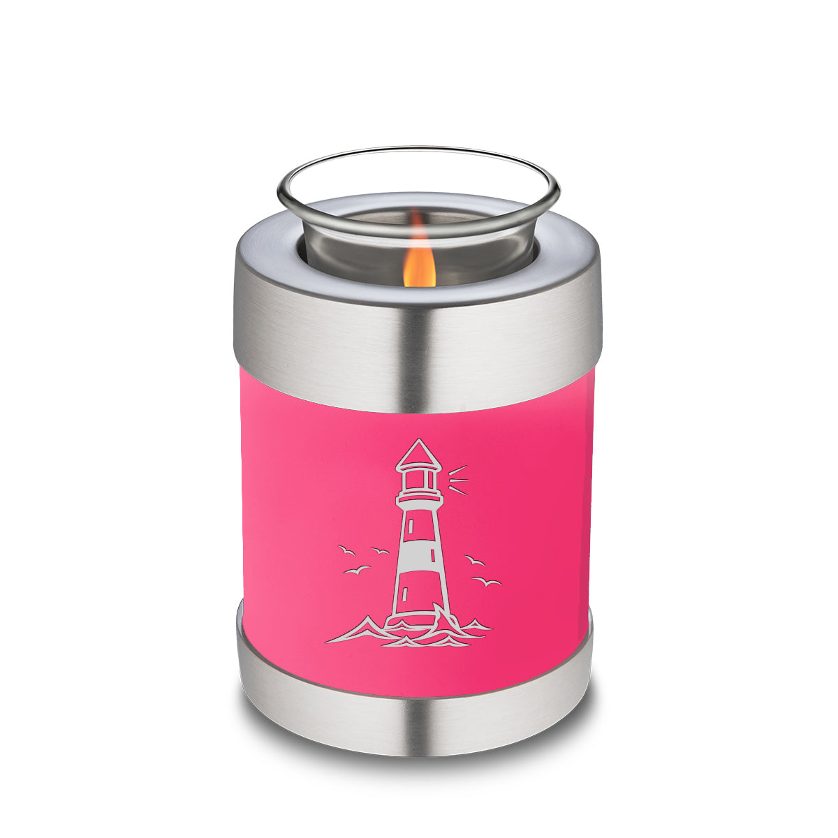 Candle Holder Embrace Bright Pink Lighthouse Cremation Urn