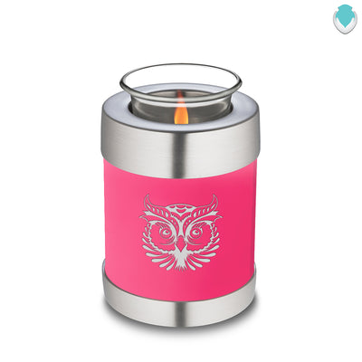 Candle Holder Embrace Bright Pink Owl Cremation Urn