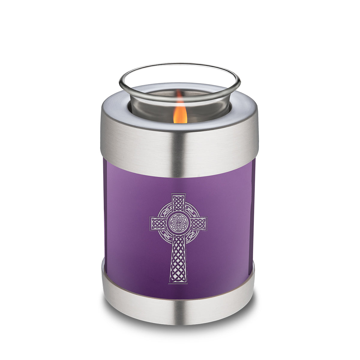 Candle Holder Embrace Purple Celtic Cross Cremation Urn