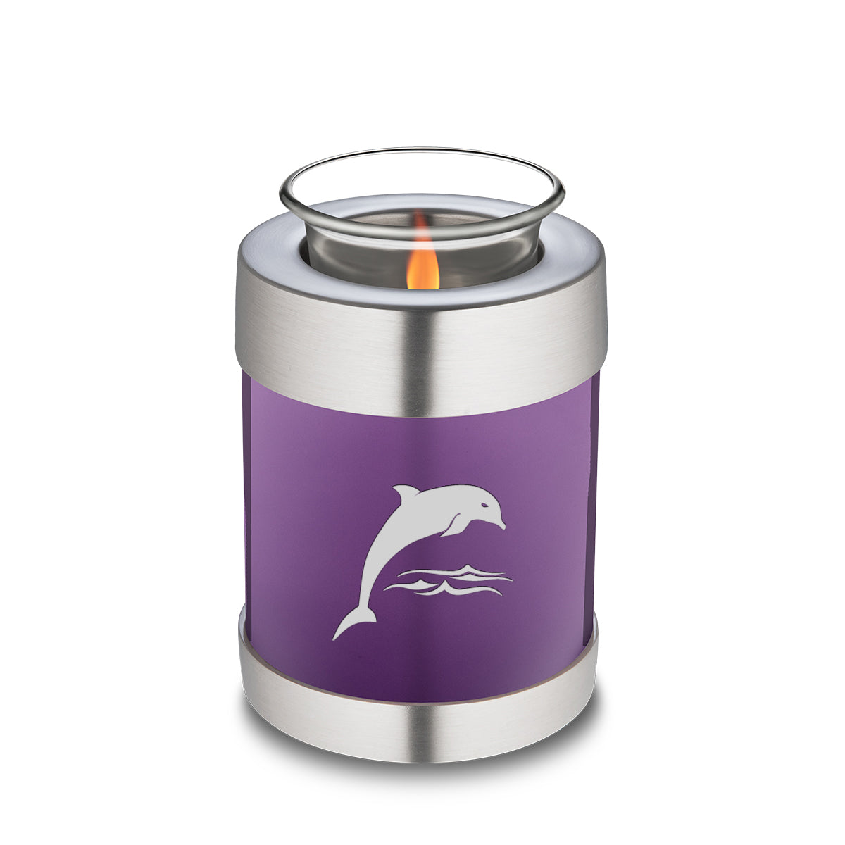 Candle Holder Embrace Purple Dolphins Cremation Urn
