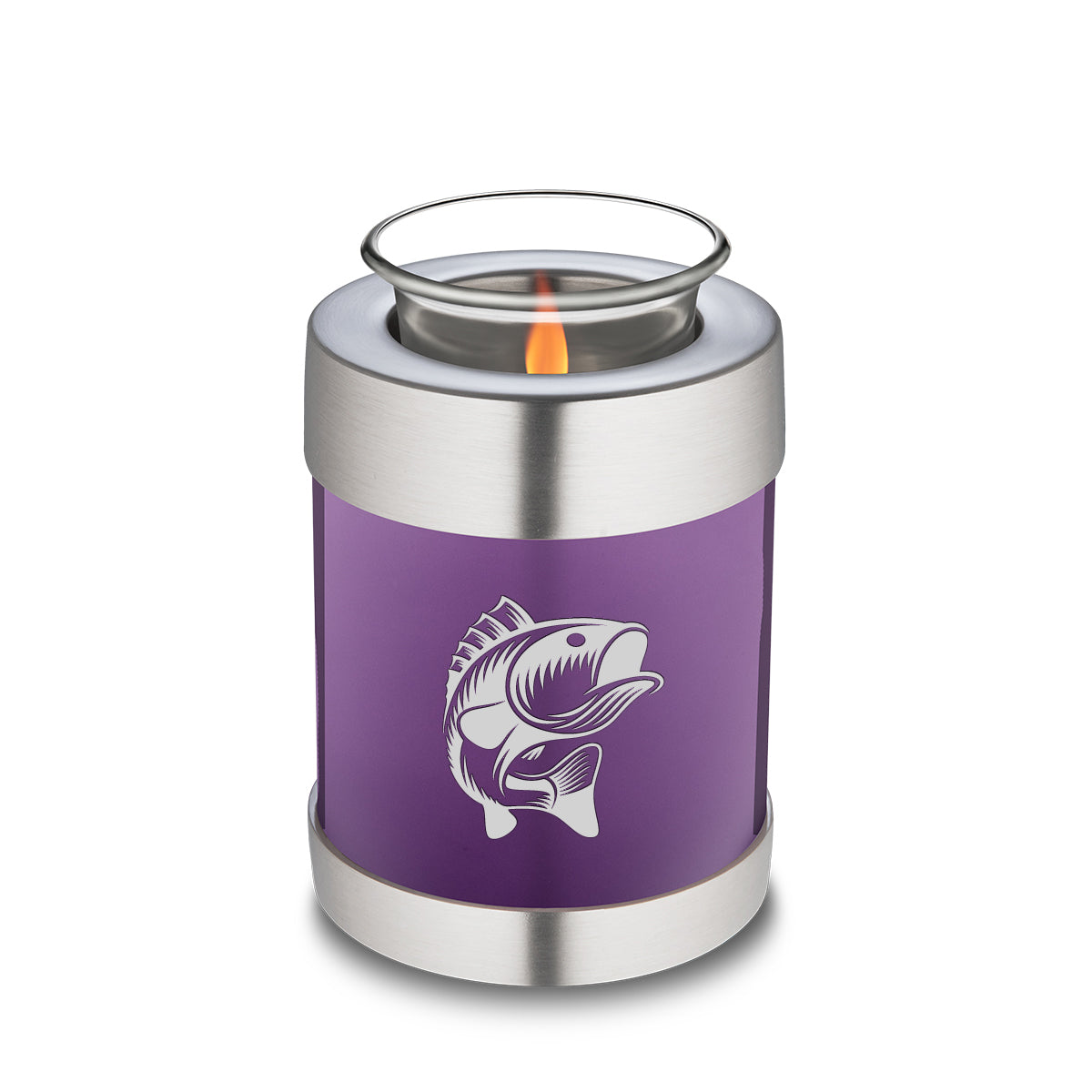 Candle Holder Embrace Purple Fishing Cremation Urn