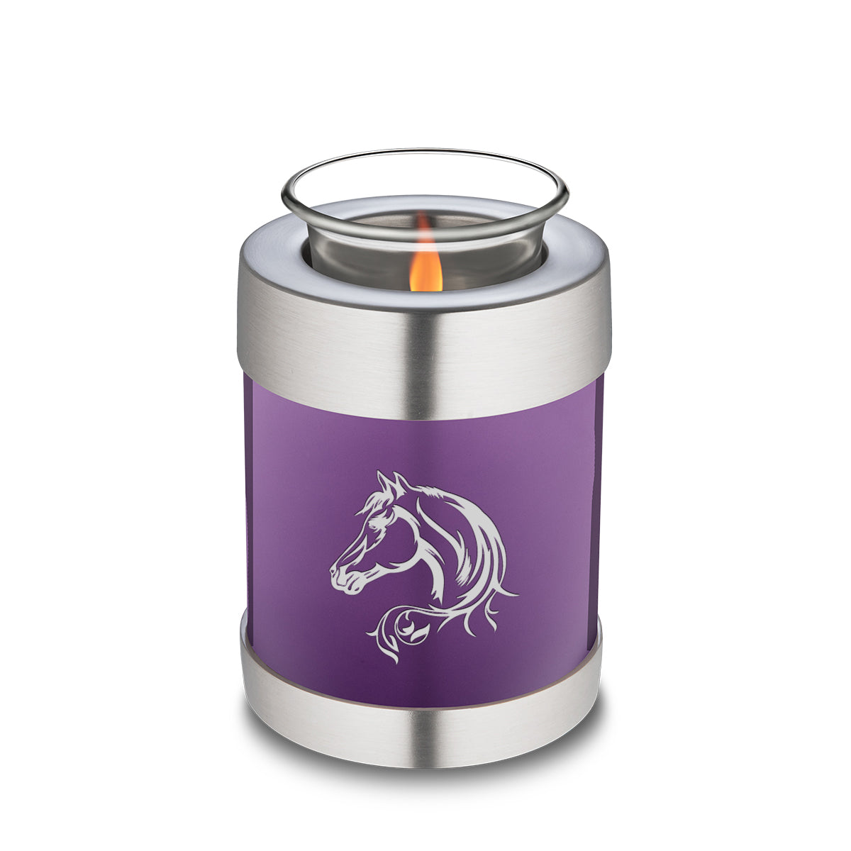 Candle Holder Embrace Purple Horse Cremation Urn