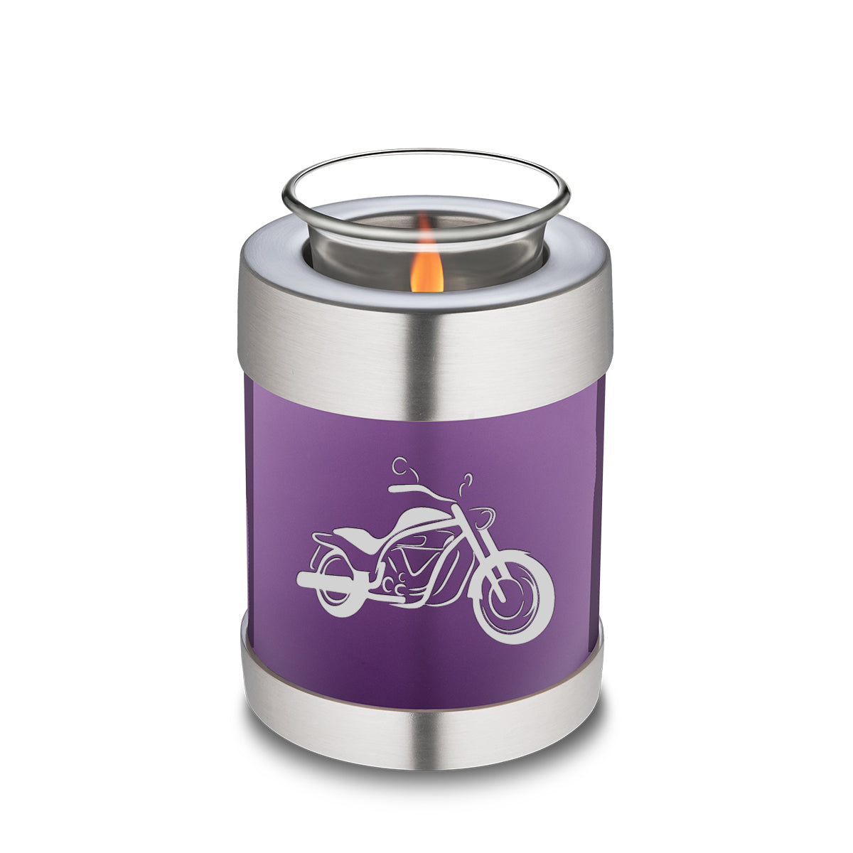 Candle Holder Embrace Purple Motorcycle Cremation Urn