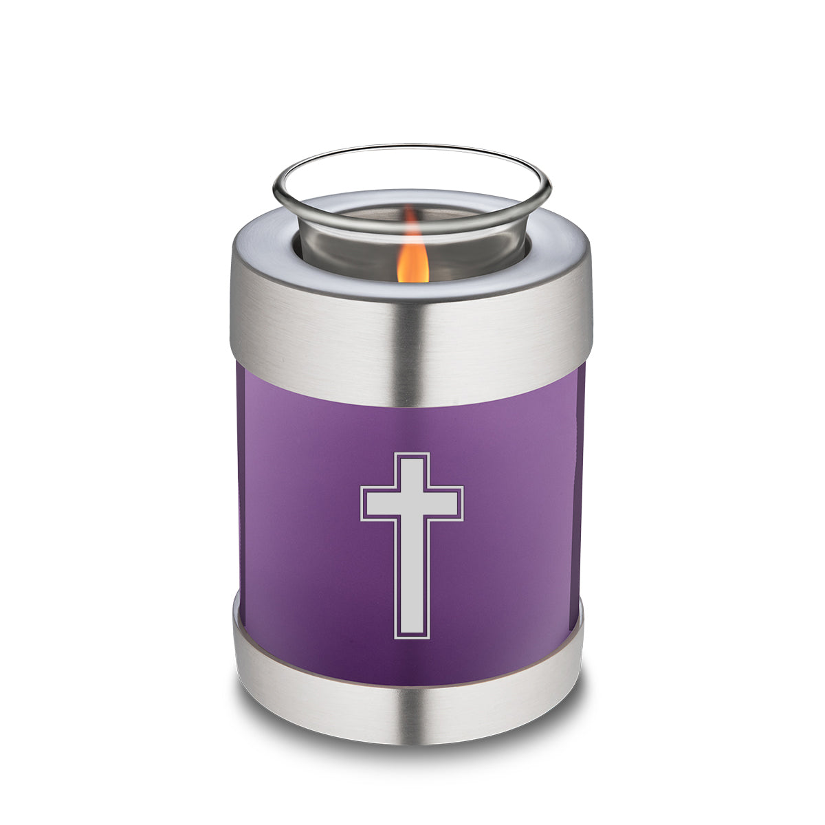 Candle Holder Embrace Purple Simple Cross Cremation Urn