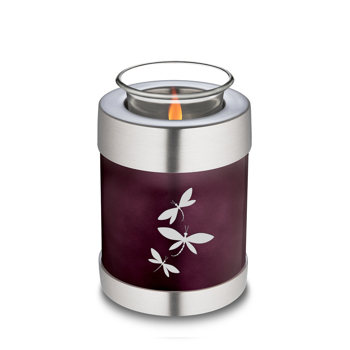 Candle Holder Embrace Cherry Purple Dragonflies Cremation Urn