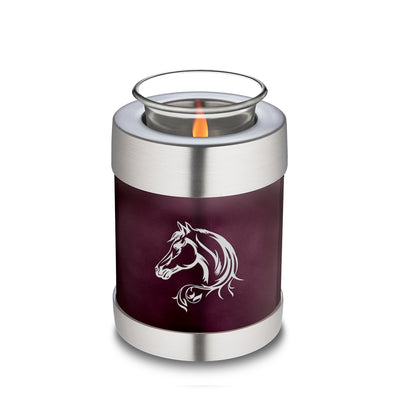 Candle Holder Embrace Cherry Purple Horse Cremation Urn
