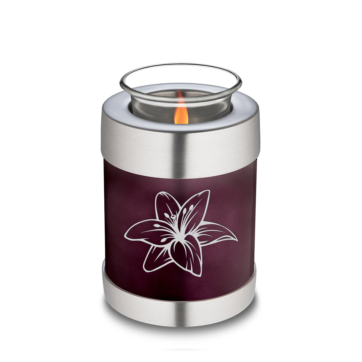 Candle Holder Embrace Cherry Purple Lily Cremation Urn