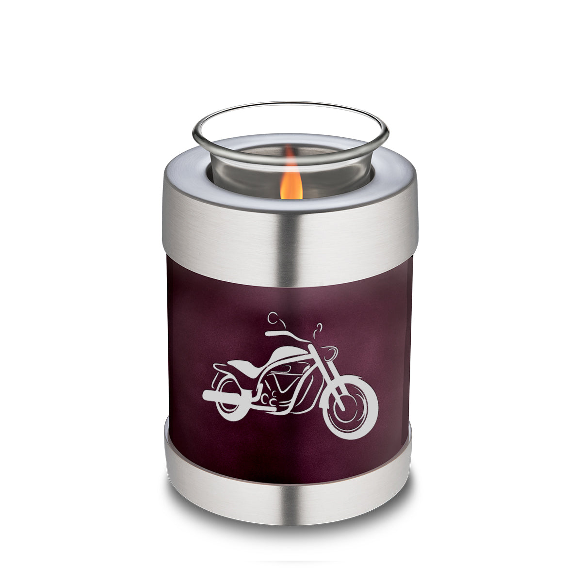 Candle Holder Embrace Cherry Purple Motorcycle Cremation Urn