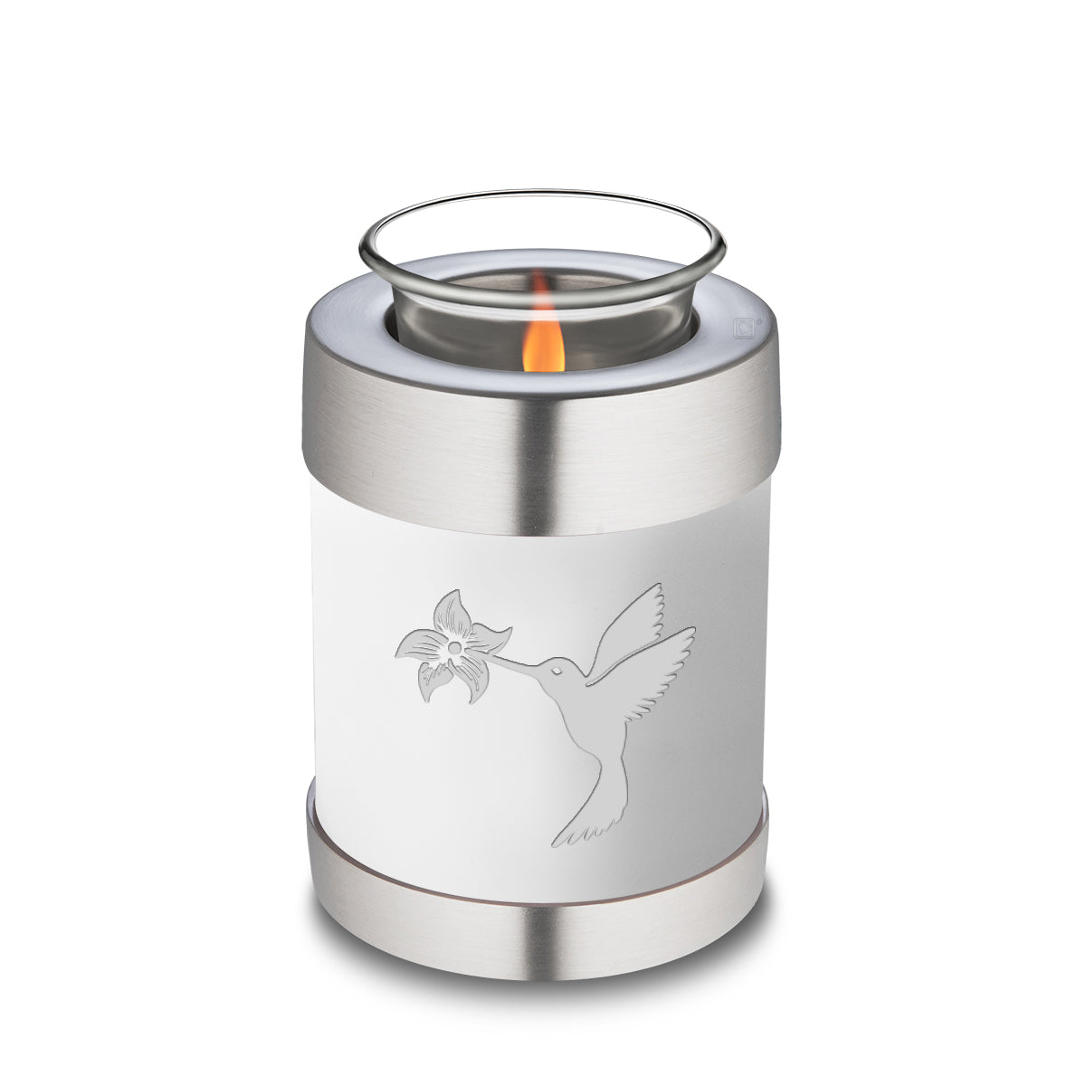 Candle Holder Embrace White Hummingbird Cremation Urn