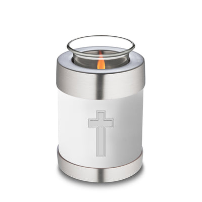 Candle Holder Embrace White Simple Cross Cremation Urn