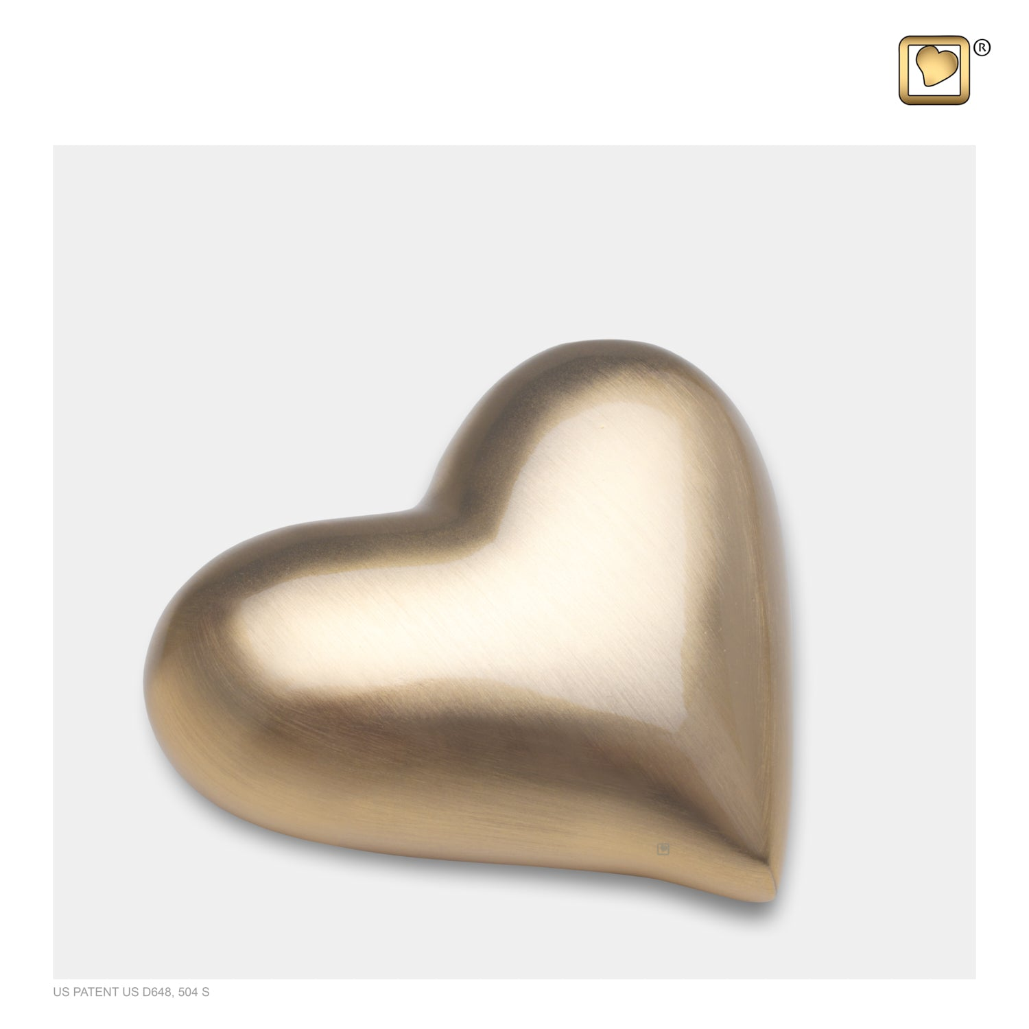 Heart Brushed Gold Cremation Urn