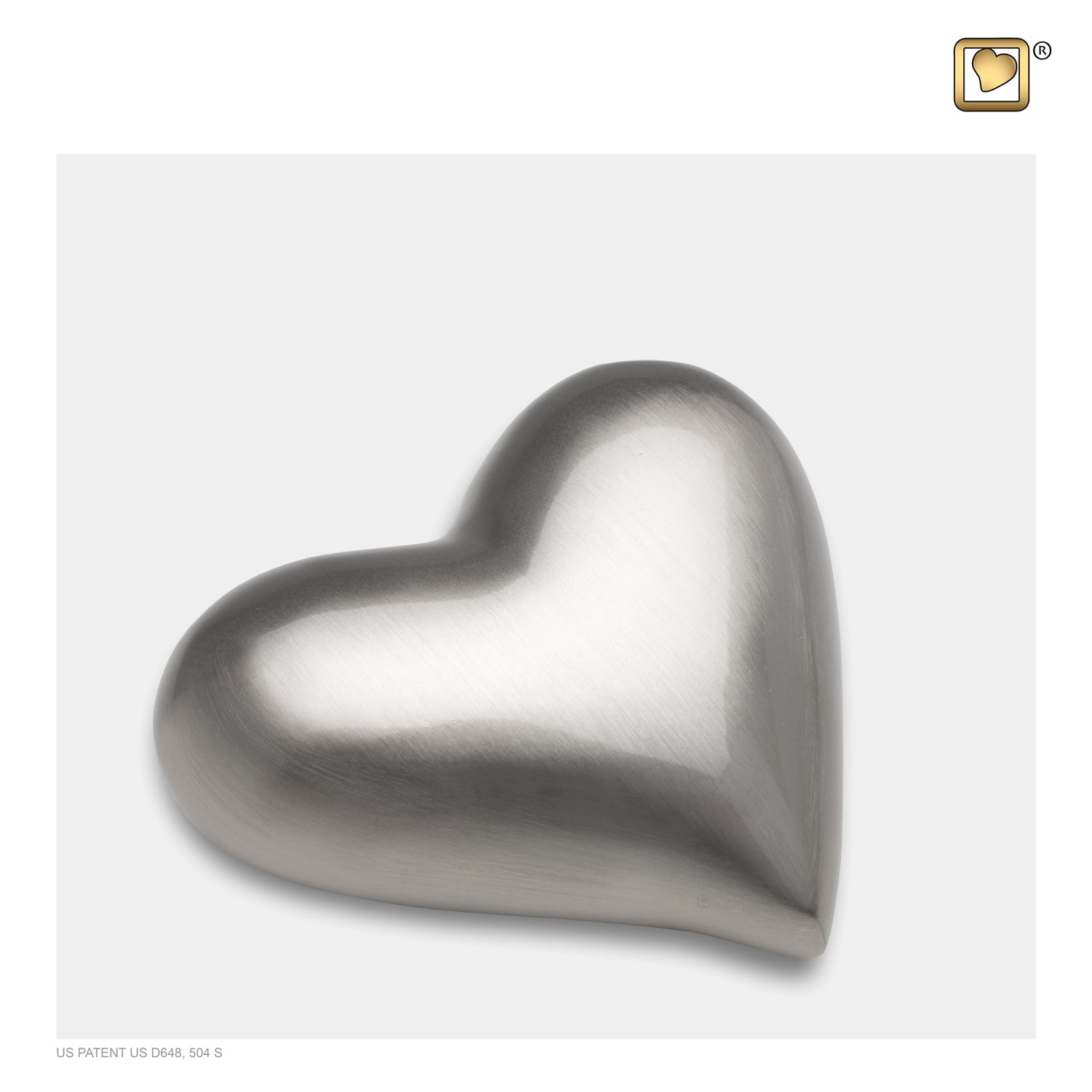 Heart Brushed Pewter Cremation Urn