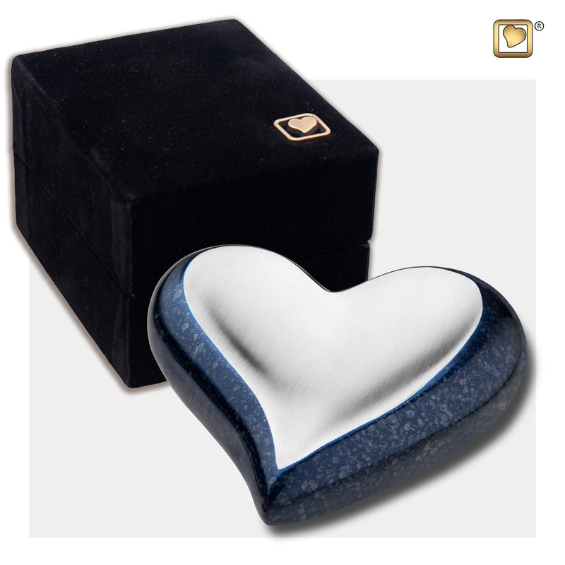 Heart Speckled Indigo Cremation Urn
