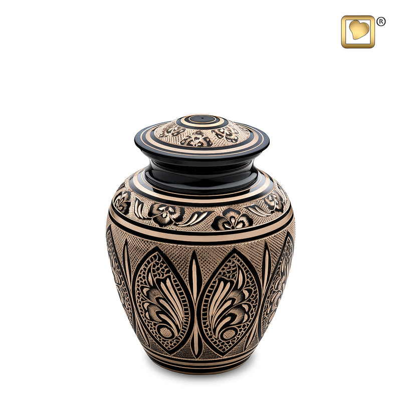 Medium Black & Gold Cremation Urn