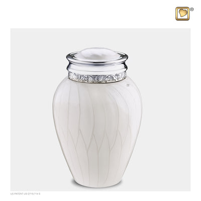 Medium Blessing Pearl Silver Cremation Urn