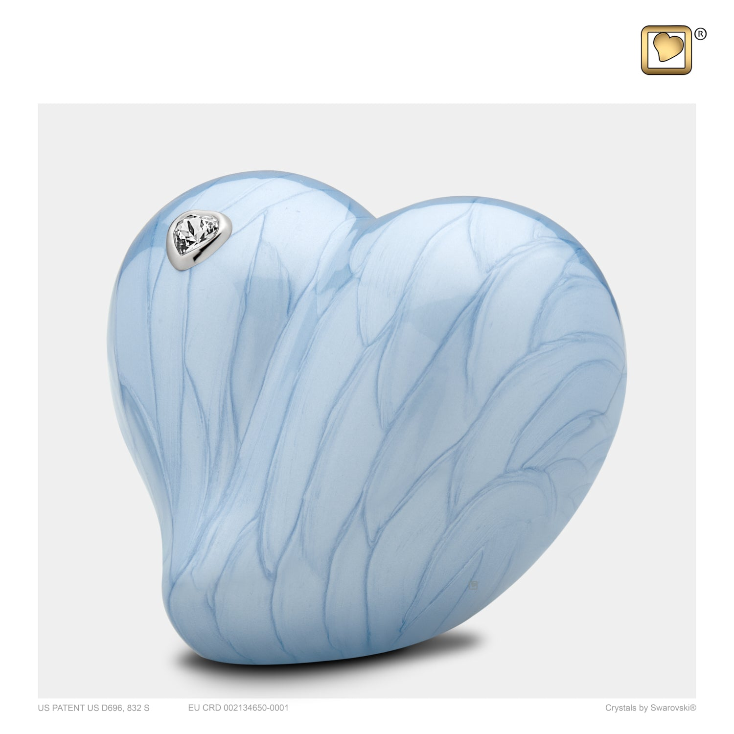 Medium LoveHeart Blue Cremation Urn
