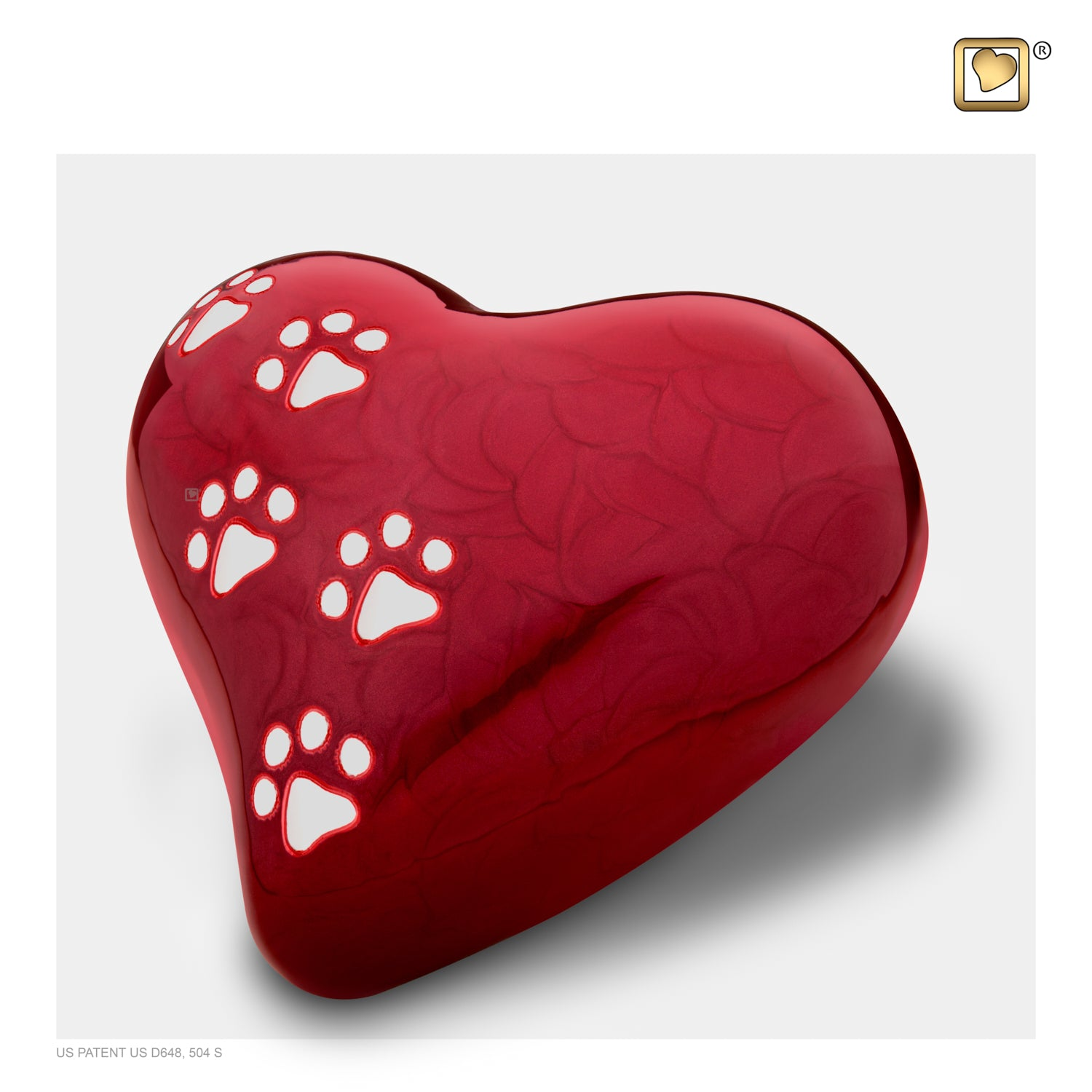 Heart Pet Pearlescent Large Red Urn